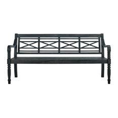 Safavieh Karoo Outdoor Bench, Dark Slate Gray