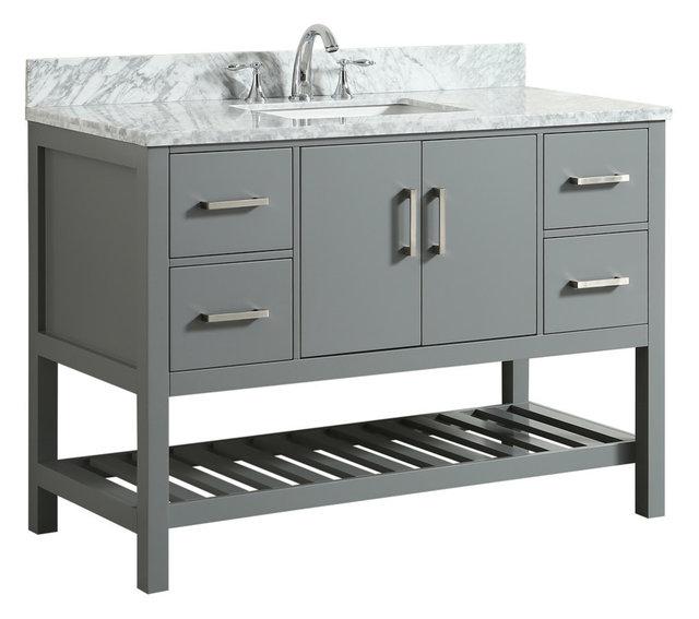 Flora Gray Bathroom Vanity With Marble Top, 49u0027u0027