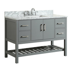 MOD - Flora Gray Bathroom Vanity With Marble Top, 49'' - Bathroom Vanities and Sink Consoles