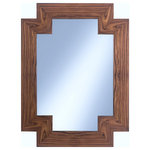 Gilded Home - Bernadette Rosewood Mirror - Both distinctive and beautifully simplistic, the Bernadette Rosewood Mirror will guarantee a great reflection. Gorgeous walnut stained rosewood is carefully matched at each joint to create a striking pattern from the natural wood grain. The angular shape of the mirror itself also brings a fresh take on the traditional rectangle. Annie, don't get your gun, get the Bernadette Rosewood Mirror. 30W X 40H. Mirror can be hung as vertical or horizontal