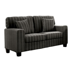 Stripe Pattern Wooden Loveseat With Fabric Upholstery Gray