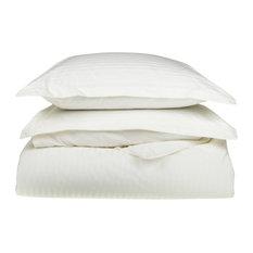 Striped 650-Thread Duvet Cover Set, Long-Staple Cotton, King/Cal King, White