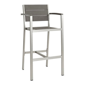 Shore Outdoor Aluminum Bar Stool, Silver/Gray