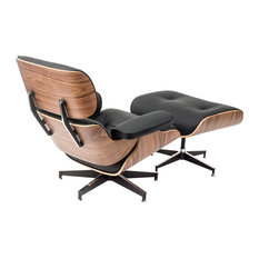 Modern Living - Mid-Century Lounge Chair/Ottoman, Genuine Premium Italian Leather, Walnut/Black - Armchairs and Accent Chairs