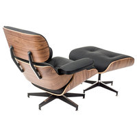Plywood Lounge Chair and Ottoman - Walnut Plywood / Black Leather
