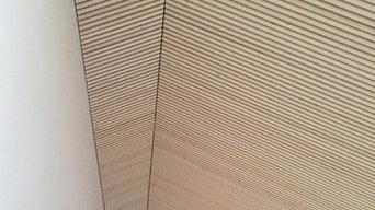 Trælisteloft i kip / nyopført villa på Fyn