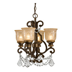 Crystorama Norwalk, 4-Light Mini Chandelier, Clear Hand Cut Crystal