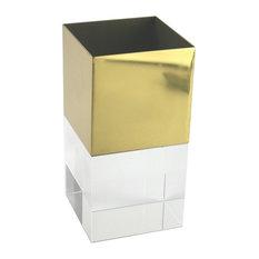 Sagebrook Home Gold Metal/Crystal Vase, Square