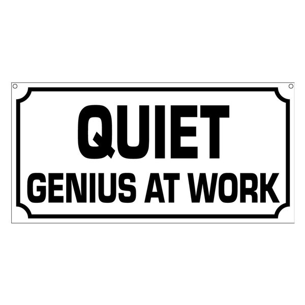Quiet Genius At Work, Aluminum Man Cave Genius Garage Art Sign, 6