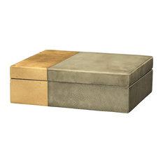 Faux Shagreen Raymond Box, Gray/Gold