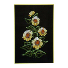 Consigned Vintage Sunflowers Cross Stitch Needlepoint Floral Art