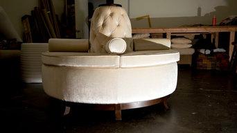 Center Banquette Sofa in Velvet from Robert Allen
