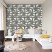 Screen Print Trees Wallpaper, Black/White, Double Roll
