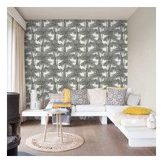 Screen Print Trees Wallpaper, Black/White, Double Roll