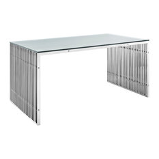 Gridiron Stainless Steel Rectangle Dining Table, Silver