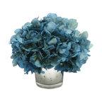 Mercury Glass Votive, Blue Hydrangea