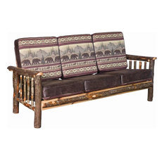 Rustic Hickory Living Room Sofa, Colorado Fabric