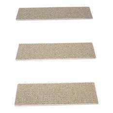 Indoor or Outdoor Non-Slip Carpet Stair Treads, Seashore, Set of 15