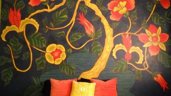 Modern floral bedroom mural