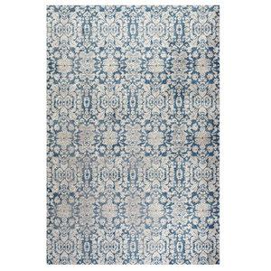 Paros Distressed Rug, Blue and Beige, 91x152 cm