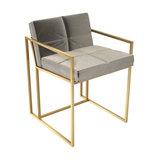 Federico Dining Chair, Mushroom Velvet, Brass Frame