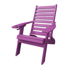 Ladder Back Folding Poly Adirondack Chair with Cup Holder, Purple