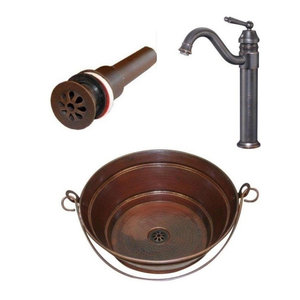 """15"""" Round Copper Bucket Vessel Sink with Drain,  and Faucet Combo"""