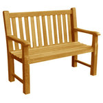 Atlanta Teak Furniture - Classic Teak Bench, 4 Feet - This teak bench offers a classic style with ageless beauty and character. the legs and arms on this bench are extremely thick and give it a very durable appearance.
