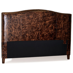 Antique Brown Leather Headboard With Distressed Nail Heads
