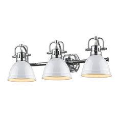 Duncan 3-Light Vanity, Chrome, White