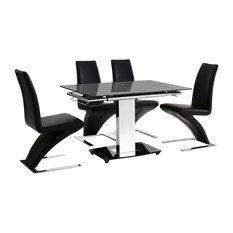 Enzo Tempered Glass, Chrome Extending Table, 4 Zed Chairs, 80-120 cm, Black