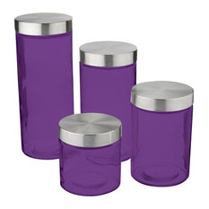 Attirant Table Top King   Anchor Hocking Callista 4 Piece Glass Canister Set,  Stainless Steel Lids