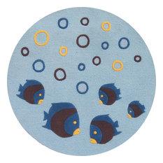 Abacasa Sam's Kids Aquarium 3' Round Light Blue Rug
