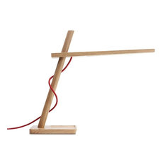 Clamp Mini Table Lamp, White Oak and Red Cord