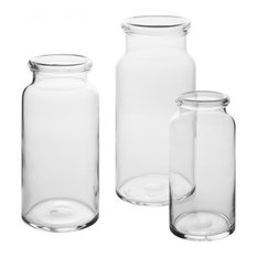 Hand blown Clear Vase, Set of 3