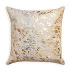 "Torino Scotland Cowhide Pillow, Natural/Gold, 18""x18"""