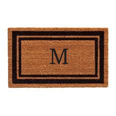 "Black Border 18""x30"" Monogram Doormat, Letter M"