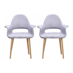 homedotdot - Modern Fabric With Arms Organic Dining Chairs, Set of 2, Gray - Dining Chairs