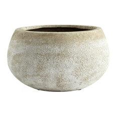 Cyan Small Round Stoney Planter, Ash Stone