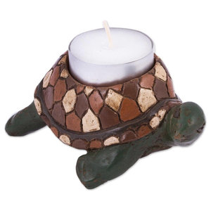 Novica Nativity Amid The Cactus Ceramic Tealight Candleholder Southwestern Candleholders By Novica