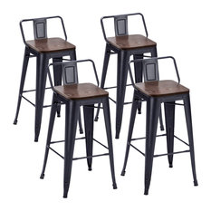 Set Of 4 Counter Stools Steel With Low Back Stackable Design Matte Black