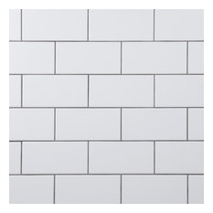 """SomerTile 3"""" x 6"""" Crown Heights Ceramic Wall Tile, Case of 44, White"""
