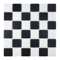 "MOD - 12.5""x12.5"" Checkmate Porcelain Floor/Wall Tile, Matte Black and White - Mosaic Tile"