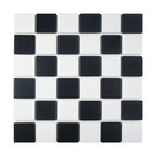 """12.5""""x12.5"""" Knight Matte Black and White Checkerboard Mosaic Floor/Wall Tile"""