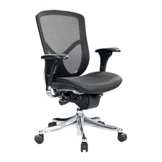 Eurotech   Eurotech Fuzion Luxury Mid Back Office Chair In Black Mesh   Office  Chairs