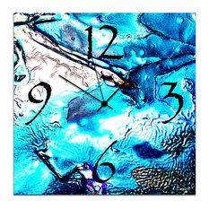 Cool Jazz Clock, Abstract Blue Metal Wall Clock