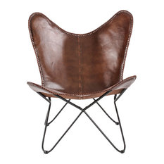 Madeleine Home - Brevent Butterfly Chair, Real Leather - Armchairs & Accent Chairs