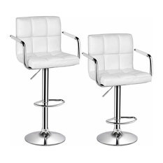 Set of 2 Bar Stools, Faux Leather With Back, Arm and Footrest, White