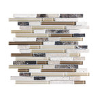 """Bliss Cappuccino Stone and Glass Linear Mosaic Tile, 12""""x12"""" Sheet"""