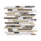 "Bliss Cappuccino Stone and Glass Linear Mosaic Tile, 12""x12"""